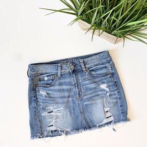 American Eagle Distressed Denim Mini Skirt Size 6